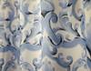 "Linen Store Fabric Canvas Shower Curtain, 70""x70"", Miley, Blue Scroll Damask Design"