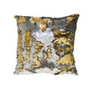 Decorative Sequin Throw Pillow 17x17 Inch, Comfortable Fill For Living Room, Couch, Bedroom, Fun Mermaid Reversible Style SILVER / GOLD (K-PT057104)