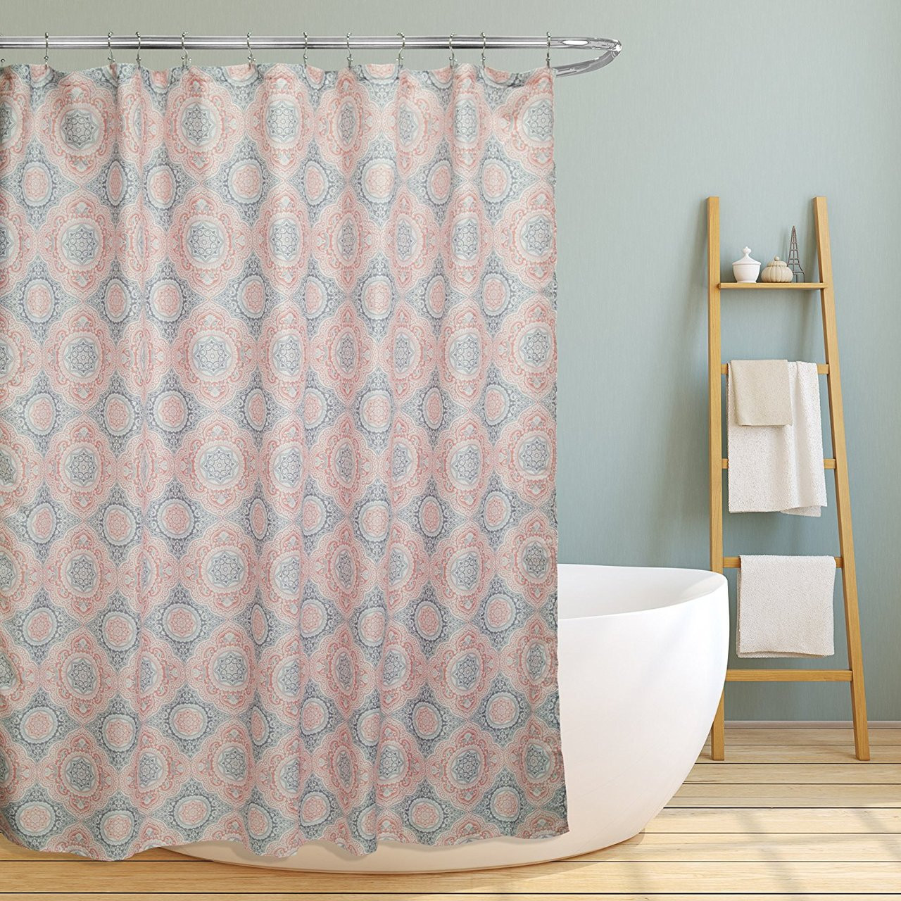 grey and coral shower curtain. Linen Store Fabric Canvas Shower Curtain  70 x70 Casey Contemporary Geometric