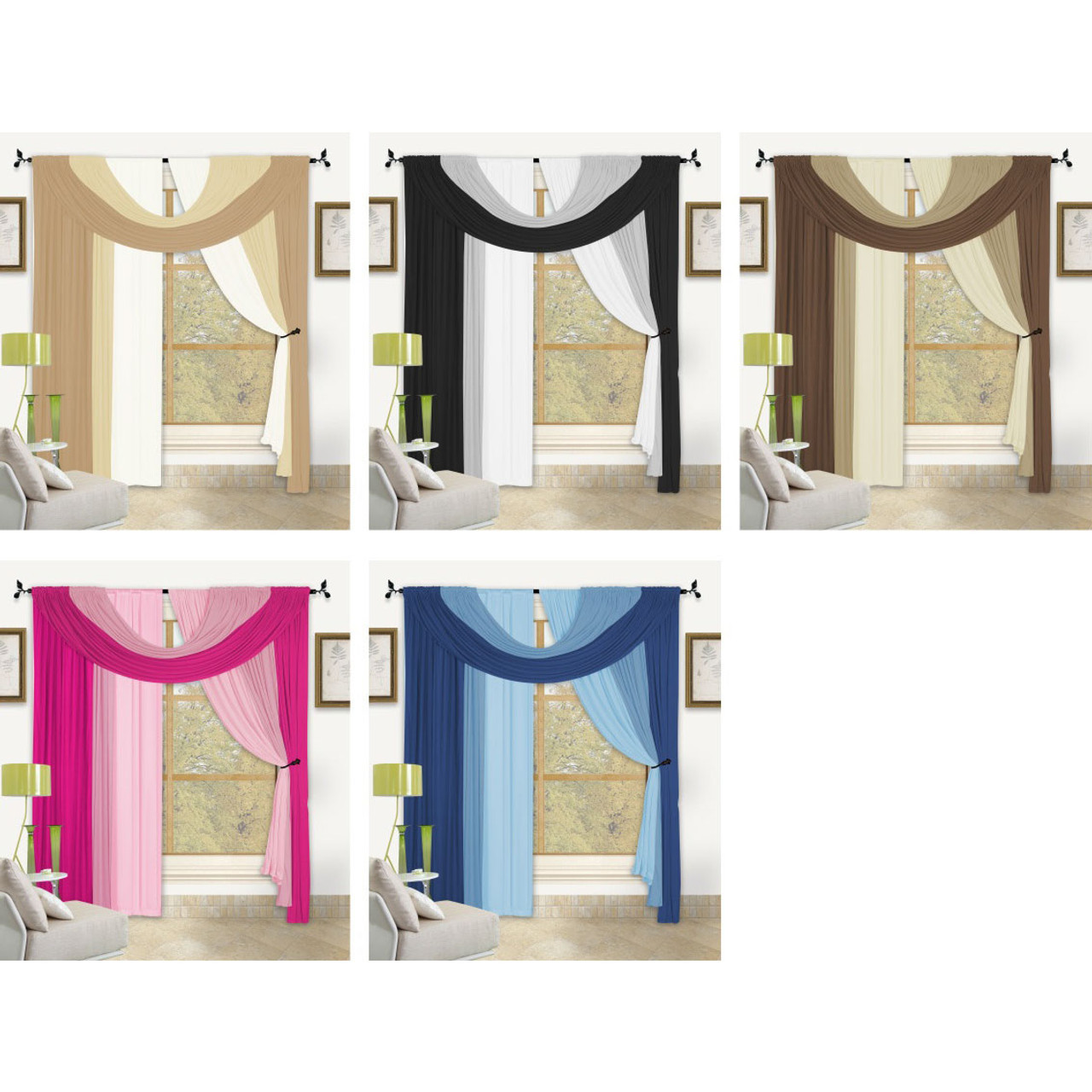 Bella Window In A Bag 4 Pc Curtain Set