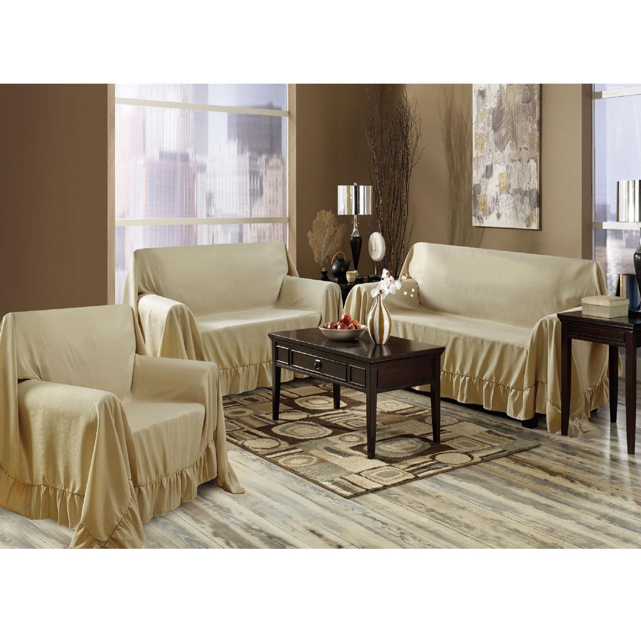 Venice 3 Piece Sofa, Loveseat, Chair Protector Throw Cover Set