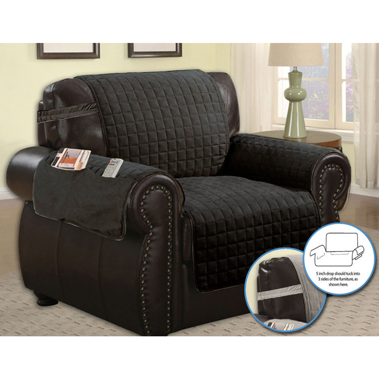 Quilted Microfiber Pet Dog Couch Furniture Protector With Side Pocket,  Tucks U0026 Strap Main