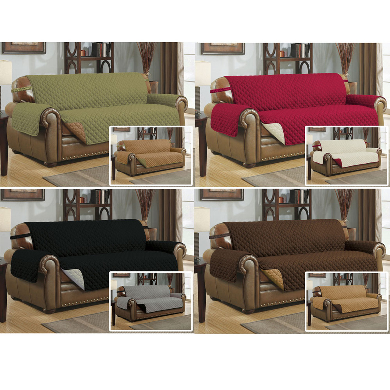 Reversible quilted microfiber pet dog couch sofa furniture for Furniture covers with straps