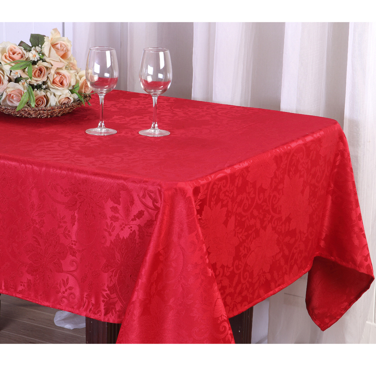 Kashi Home Red Jacquard Fabric Tablecloth, Christmas Holiday Tablecloth