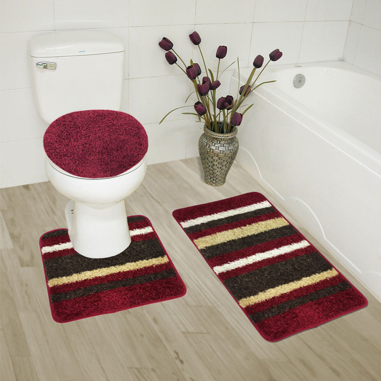 Superior Abby 3 Piece Bathroom Rug Set, Bath Rug, Contour Rug, Lid Cover,