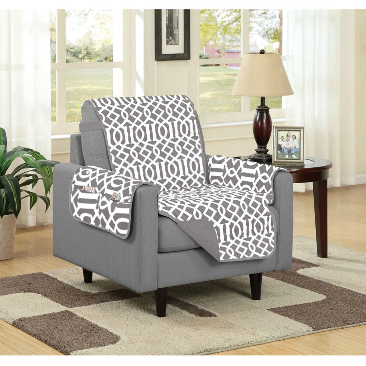 Attractive Dallas Reversible Solid/Print Microfiber Furniture Protector With Strap U0026  Side Pockets