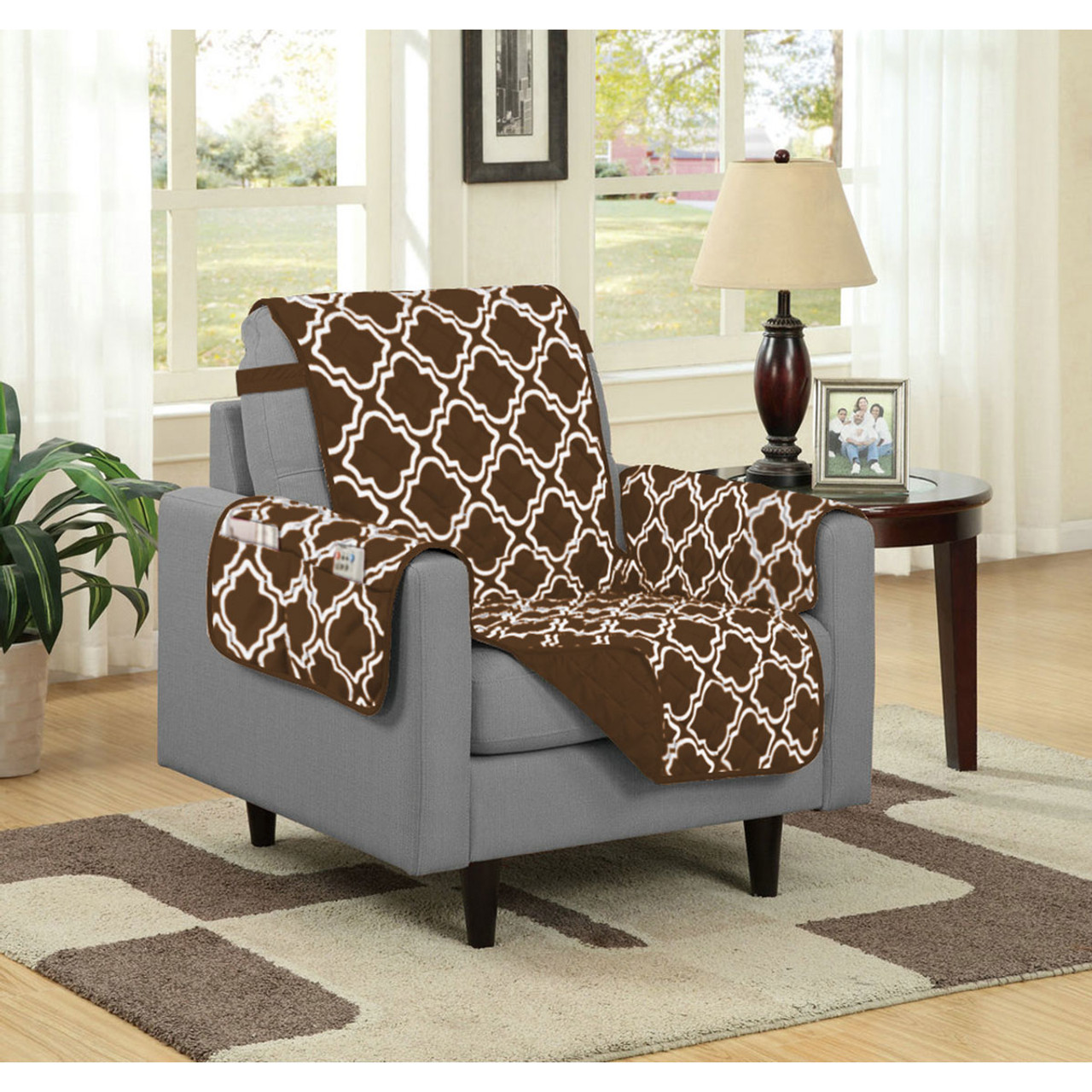 Austin Reversible Solid/Print Microfiber Furniture Protector With Strap U0026  Side Pockets Chair