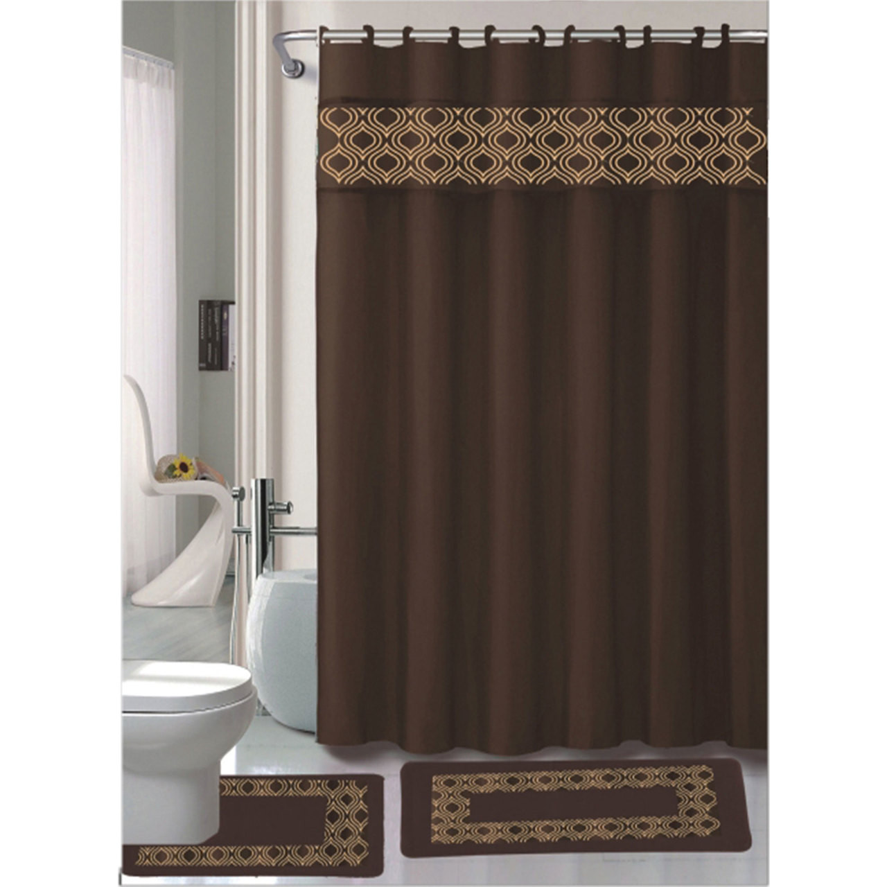 maroon shower curtain set. Gabrielle Chocolate 15 Pc Bathroom Accessories Set  Bath Mat Contour Rug Shower Curtain