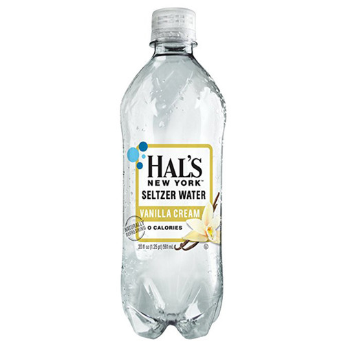 Hal's New York Seltzer Water Vanilla Cream 20 Oz (24 Pack)