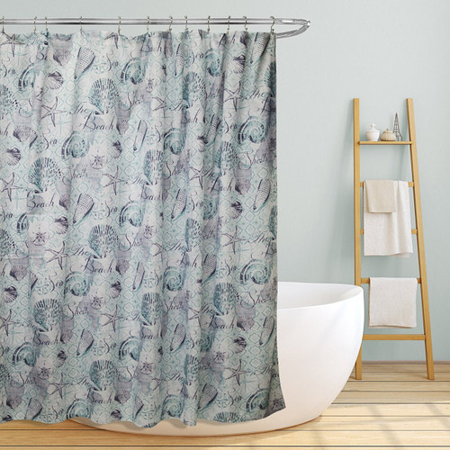 "Linen Store Fabric Canvas Shower Curtain, 70""x70"", Marina, Beach & Seashells Printed Design"