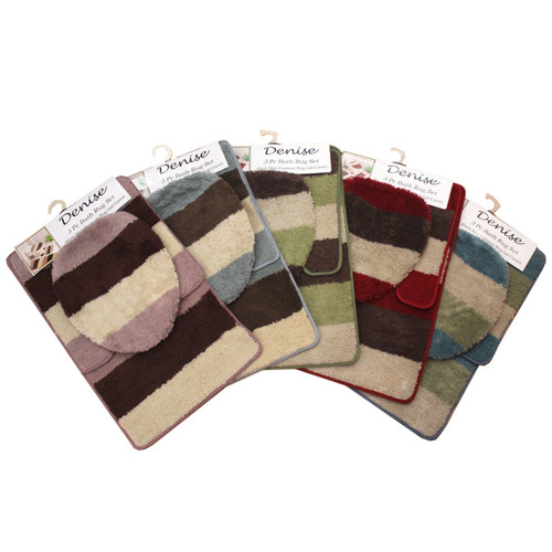 DENISE 3 PC BATH RUG, STRIPE DESIGN
