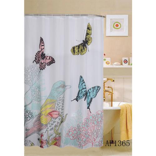 """Cardinal Shower Curtain, Bird & Butterflies Printed, 70""""x70"""" (K-SC032941)"""