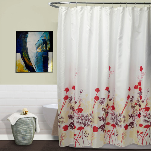 Kimberly Red Floral Fabric Shower Curtain, 70x70 Inch