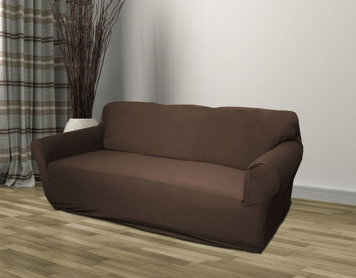 Kashi Home Stretch Jersey Sofa Slipcover Brown