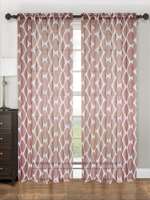 """Sheer Voile Lattice Pattern Printed Curtain Panel with Rod Pocket, 55""""x84"""", May - Chocolate"""