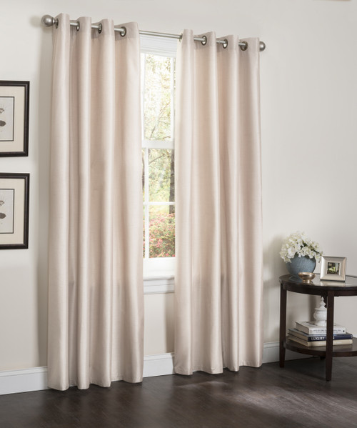 """Blackout Window Curtain Panel, 54"""" X 90"""", Faux Silk Thermal Insulated Grommet Top, Erin, 1 Panel"""