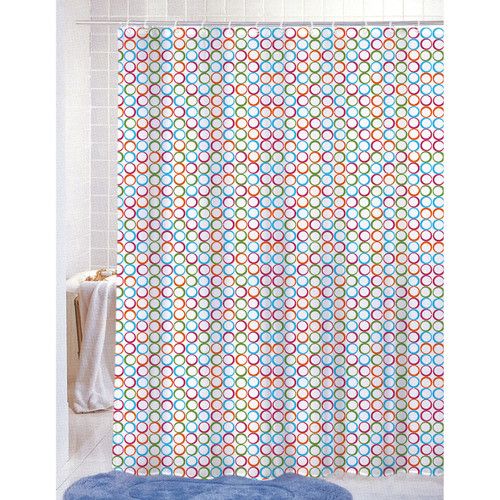 PVC Free (PEVA) Printed Shower Curtain, Colorful Geometric Dots Print, 70x72, Molly (K-SC047440)