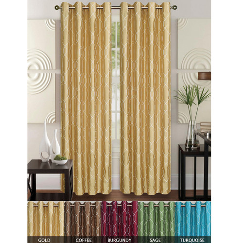 """Faux Silk Geometric Embroidered Decorative Curtain Panel with Grommets, Rita 55""""x84"""", Single Panel"""