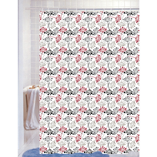 """PEVA Shower Curtain With Matching Metal Hooks, 70""""x72"""", Floral Geometric Print, Anna"""