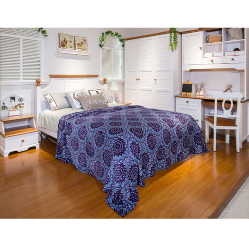 Jessica Collection Micro Plush Blankets, Purple Star Burst - Twin, Full, Queen, King