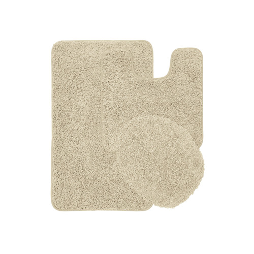 Layla 3 Piece Shaggy Bathroom Rug Set, Bath Mat, Contour Rug, Lid Cover, Solid Colors