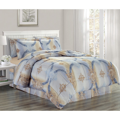 Ultra Soft Microfiber 8 PC Royal Scroll Damask Printed Down Alternative Bed in a Bag, Bedding Set, Queen, King - Chloe