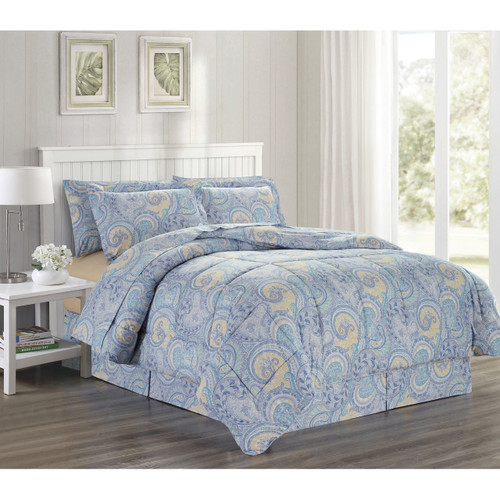 Ultra Soft Microfiber 8 PC Paisley Scroll Printed Down Alternative Bed in a Bag, Bedding Set, Queen, King - Isla