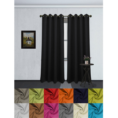 Solid Color Grommet Blackout Room Curtain Panel, Soft Thermal Insulated Room Darkening Window Drape, 54 x 84 Inch, Tessa Single Panel