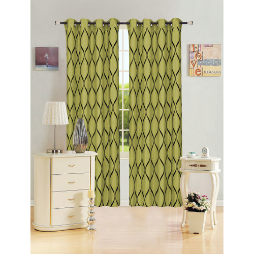"""Kashi Home Bianca Collection Decorative Window Treatment Curtain Panel 54""""x 84"""" Organza w/ Flocked Abstract Lattice Design - Single Panel, Grommet Top"""