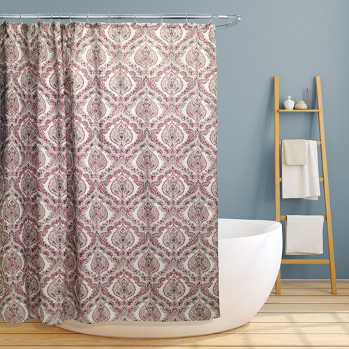 "Fabric Canvas Shower Curtain, 70""x70"", Rose, Burgundy Paisley Damask Design"