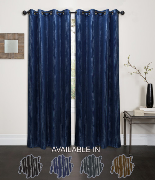 """Kashi Home Ella Collection Abstract Foil Printed 54""""x84"""" Grommet Single Blackout Curtain Panel"""
