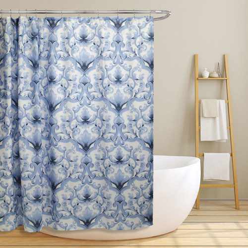 "Linen Store Fabric Canvas Shower Curtain, 70""x70"", Miley, Blue Scroll Damask Design (LS-SC028079)"