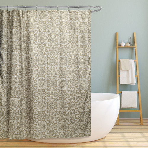 "Linen Store Fabric Canvas Shower Curtain, 70""x70"", Lori, Floral Scroll Geometric Design (LS-SC028062)"