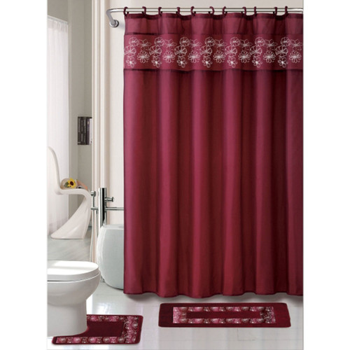 Kelly Burgundy 15 Pc Bathroom Accessories Set, Bath Mat, Contour Rug, Shower Curtain With Hooks