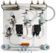 Deluxe panel with 2 Flojet beer pumps, 2 Secondary regulators, 2 FOBs, 2  Beer Manifolds, 2 Cleaning Heads