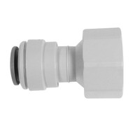 """John Guest Fitting, Gray Acetal Female Connector 3/8"""" x 1/2"""" BSPP (Flat End)"""