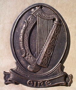 Celtic Plaque ~ Eire with Irish Harp ~ cast iron