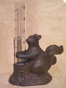 Squirrel rain gauge ~ cast iron with glass tube