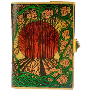 Autumn solstice journal ~ hand-painted leather sketch book