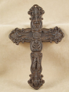Floral Cross ~ rust cast iron ~ Victorian Wall Decor