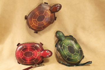 Handmade leather turtle wristlet ~ choice of colors!