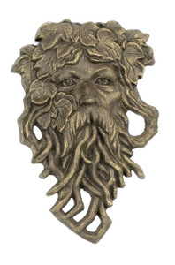 Leaf Man garden face plaque cast iron Green Man ~ Ent Tolkien Hobbit Tree Beard