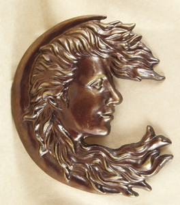 Moon Nature Goddess ~ cast iron garden face plaque rubbed bronze finish ~ Luna