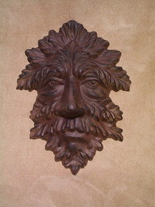LEAF MAN PLAQUE mythical celtic GARGOYLE MASK cast iron JACK IN THE GREEN nature