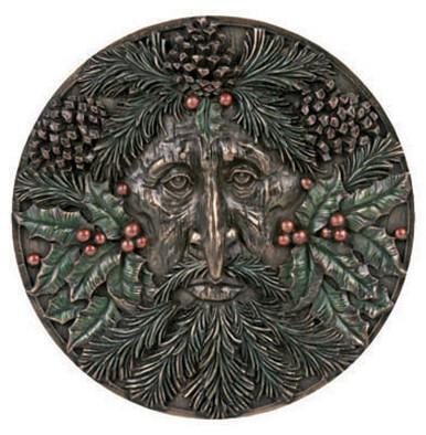 Winter Green Man plaque ~ resin