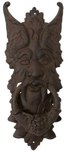 Gargoyle door knocker in rust cast iron ~ green man design