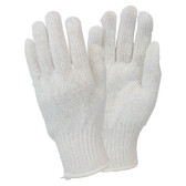 Bright White Medium Weight String Knit Gloves