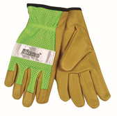 HI-VIS UNLINED MESH BACK GRAIN PIGSKIN LEATHER DRIVER