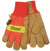 HI-VIS LINED PIGSKIN LEATHER PALM with KNIT WRIST