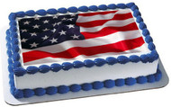 AMERICAN FLAG 1 Edible Birthday Cake Topper OR Cupcake Topper, Decor